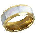 8MM Tungsten MOP Ring Gold IP Mother of Pearl Abalone Shell Inlay Sizes 7 - 15  image