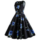 Plus Size Floral Printed Retro Dress - BLUE