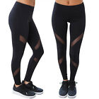 Women's Black Workout Leggings Sport Pants Running Yoga Mesh Cutouts