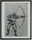 Archery Print No.594, dictionary prints, archery bow posters