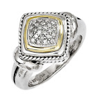 925 Silver & 14k Yellow Gold Diamond Rope Accent Square Ring