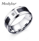 Blue Carbon Fiber Inlay Stainless Steel Based Men's Fashion Jewelry Accessory