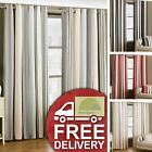 Striped Eyelet Curtains Ready Made Fully Lined Ring Top Heavy Weight 4 Colours