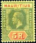 MAURITUS-1921 5r Green & Red Orange Buff.  A mounted mint example Sg 203
