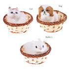 Animals In Basket Furry Plush Toys Craft Collectible Gift For Children Kids