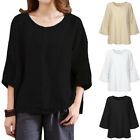 Womens Vintage Flax 3/4 Sleeve O Neck Cotton Linen Loose Tunic Shirt Top Blouses
