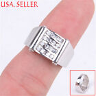 Genuine 925 Sterling Silver Shiny 5mm Wide Four Row Micro Pave Crystal Ring Z503