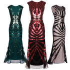 Ladies 1920s 20s Flapper Gatsby Dress Beading Sequined Long Cocktail Party Dress