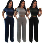 2PCS Ladies Short Sleeve Crop Tops Pants Split Bodycon Casual Outfit Sportswear