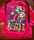 """Girl''s """"Monster Hig"""" fuchsia 3/4-sleeve Top black lace shoulders Size 10-12"""