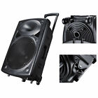 Portable Rolling PA Speaker DJ Party USB Remote Control Show Music Box Size Opt