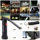 COB LED Work Light Magnetic Folding Hook Hanging Lamp Flashlight Torch Cordless
