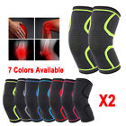 2 x Compression Knee Support Sleeve Bandage Strain/Sprain Injury Running uk