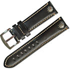 20mm 22mm Punk Riveted Black Genuine Leather Watch Strap Watch band Pilot Style