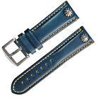 20mm 22mm Punk Riveted Blue Genuine Leather Watch Strap Watch band Pilot Style