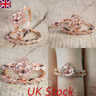 Womens 925 Silver Rose Gold Plated Diamont Wedding Engagement Ring 2pcs Set 6-10