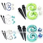 6pc Set Acrylic Spiral Taper Stretcher Ear Flesh Tunnel Plug Stretching Expander
