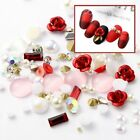 Glitter Nail Art Rhinestones Alloy Rose 3D Flowers Mix Gems