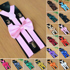 Men's Matching Suspenders Braces and Bow Tie Combo Sets Fancy Costume 16 Choice