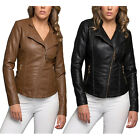 KOGMO Women's Double Breasted Faux Leather Biker Short Coat Jacket