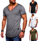 Mens Slim Fit Sports Muscle T-shirt V Neck Plain Short Sleeve Tops Tee Blouse US image