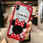 Cute Disney Minnie Daisy Tempered Glass Back Case Cover For iPhone X 7Plus 8Plus
