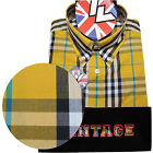 Warrior UK England Button Down Shirt CASINO Slim-Fit Skinhead Mod Retro