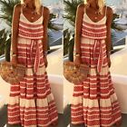 US Women Boho Floral Long Maxi Dress Evening Party Beach Dresses Summer Sundress