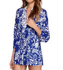 Lilly Pulitzer Sarasota Pintuck Beaded Tunic in Tide Pools Blue Pattern Size XS