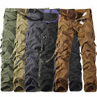 Mens Cotton Cargo Army Combat Pants Military Camou Tactical Casual Work Trousers