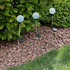 Sunnydaze Set of 3 Mosaic Glass Ball Solar LED Stake Lights - Multiple Colors
