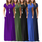 Women's Oversize Summer Loose Short Sleeve Casual Long Dress Plus Size Navy Blue