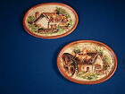 Vtg Pair 50s LEFTON Wall Plaques Oval Porcleain Country COTTAGE House Mill JAPAN