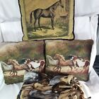 Lot of 3 Tapestry Pillows & 1 Fleece Throw - Horses