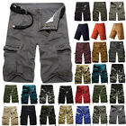 Mens Cargo Pants Shorts Summer Casual Military Camo Combat Army Work Trousers