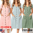 US Women's Summer Short Sleeve V Neck Button Down Swing Midi Dress with Pockets