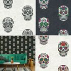 Gothic Skull Floral Flowers Textured Embossed Vinyl Tattoo Style wallpaper