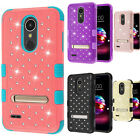 For LG K30 HYBRID IMPACT TUFF Dazzling Diamond KICK STAND Phone Case Cover