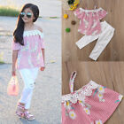 2PCS Set Toddler Girls Floral T-shirt Tops+Ripped Long Pants Outfis Kids Clothes