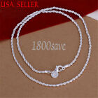 #SUMMER SPECIAL#925 Sterling Silver Serpentine 2MM Rope Chain Necklace Z808