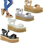 Ladies Womens Cork Wedge Heel Studded Ankle Strap Platforms Sandals Shoes Size