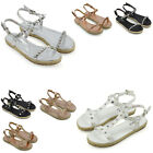 Womens Strappy Flatform Sandals Ladies Studs Pearl Espadrilles Summer Shoes Size