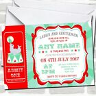 Red & Green Red Circus Children's Birthday Party Invitations