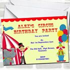 Circus Clown And Tent Theme Birthday Party Invitations