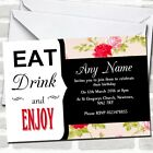 Modern Eat Drink Coral Flowers Birthday Party Invitations