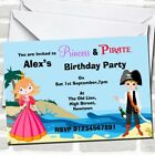 Princess And Pirate Theme Birthday Party Invitations