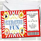 Red Circus Ticket Theme Birthday Party Invitations