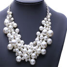 Huge Pearl Beads Cluster Collar Chunky Chain Choker Necklace Wedding Accessory
