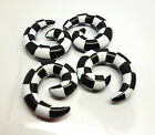 Unisex Checkered Black/White Acrylic Ear Tunnel Plugs Taper Spiral Stretcher