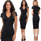 Women Elegant V Neck Ruched Dobby Fabric Floral Work Business Party Sheath Dress